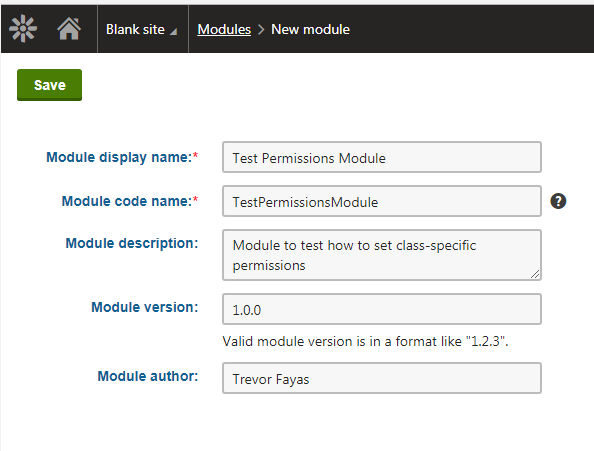 Creating a Test Permissions Module
