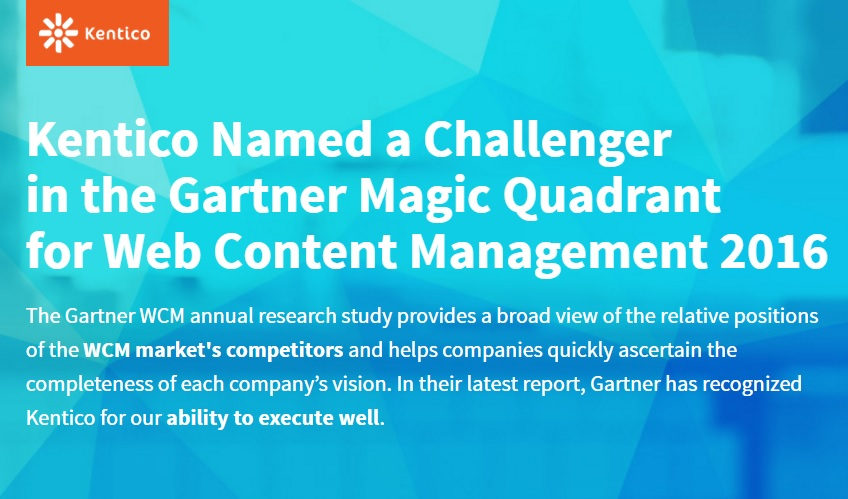 Kentico Challenger Gartner Magic Quadrant 2016
